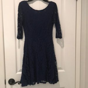 Classy navy lace dress with 3/4 length sleeves